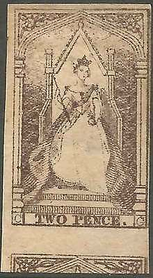 VICTORIA 1852-54 Queen on Throne 2d Grey-Brown imperforate ACSC 4a cv$600 Mint