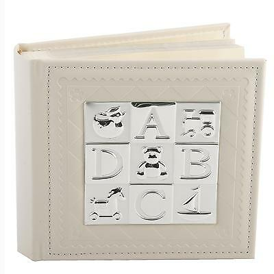 """New Baby Photo Album with silverplated """"ABCD"""" Square Icon 80Pcs 4""""x6"""""""