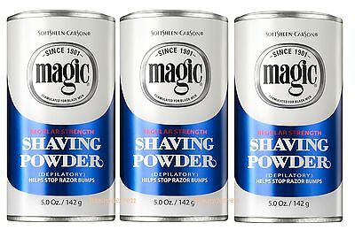 3 x Carson Magic Depilatory Shaving Powder Regular Strength (Blue)