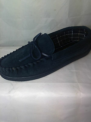MENS bLUE suede leather moccasin slippers rubber soles NAVY outdoor sole
