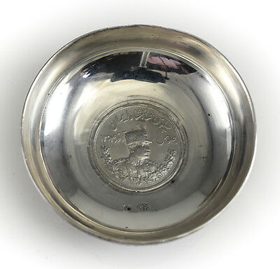 Persian 84 Silver Coin Mounted Dish, Intricate Hand Chased Floral Accents
