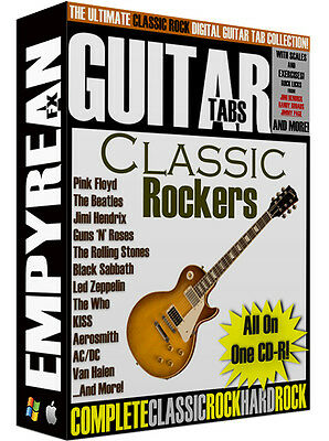 The ULTIMATE Classic Rock Guitar Tabs CD-R Digital Lessons Software Windows Mac