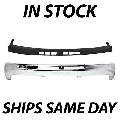 NEW Steel Front Bumper Kit W/ Upper Cover Pad For 1999-2002 Chevy Silverado 1500
