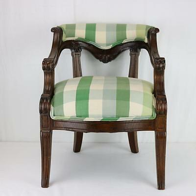Antique Victorian Child's Miniature Chair Regency Style Restored New Upholstery