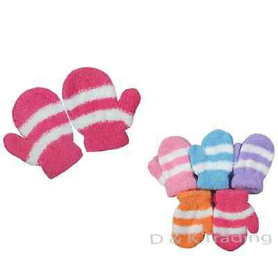 12 pairs Fuzzy Striped Girl Toddler Child Infant Baby Fall Winter Mittens Glove