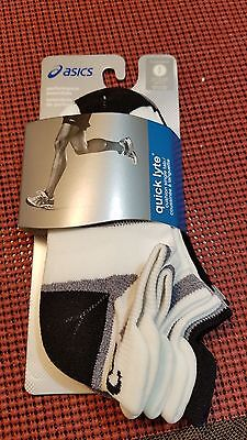 ASICS Quick Lyte Cushion Single Tab Socks, White/Black S/P