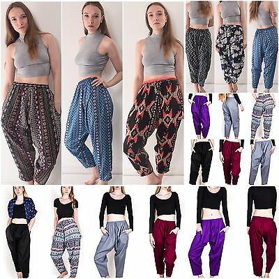 100% Soft Organic Cotton Harem Pants 4 Sizes Baggy Yoga Ali Baba Casual Hareem