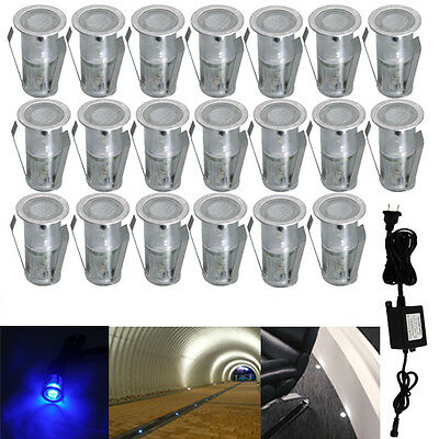 20pcs Set Φ18mm Stainless LED Deck Light Outdoor Garden Path Ground Stairs Lamp