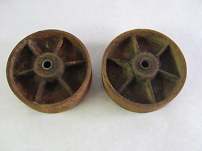 "(2) Antique Solid Heavy Duty Cast Iron Cart Wheels Casters 5 3/4"" x 1 7/16"""