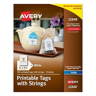Avery Printable Tags with Strings, Scallop, 2 x 1.25 Inches, Pack of 180 New