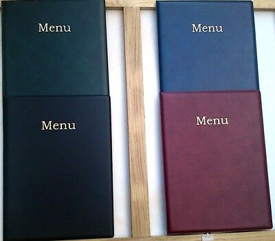 QTY 1 A4 LEATHER LOOK MENU COVER - with extra Double pocket welded into spine