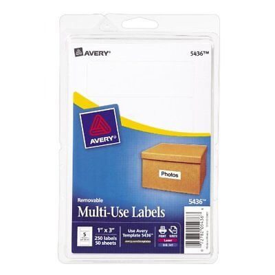 Avery Removable Print/Write Labels, 1 x 3 Inches, White, Pack of 250 (5436) New