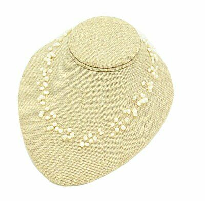 """8 1/4""""Wx4""""H Beige Burlap Necklace Earring Easel Display"""