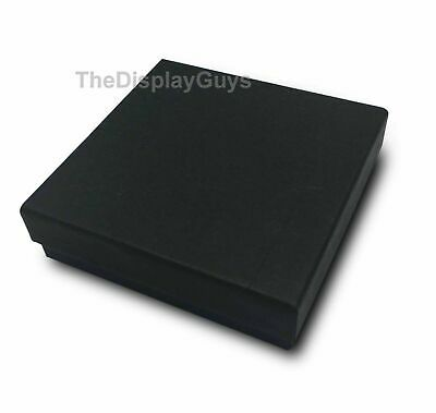 "US Seller~ 50 pcs 3 1/2""x3 1/2""x1"" Matte Black Cotton Filled Jewelry Gift Boxes"