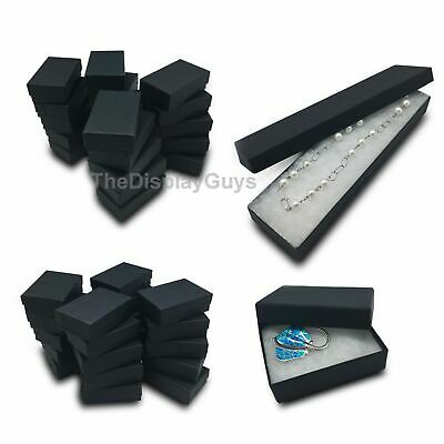 "Lot of 12 pcs 3 1/4""x2 1/4""x1"" Matte Black Cotton Filled Jewelry Boxes"
