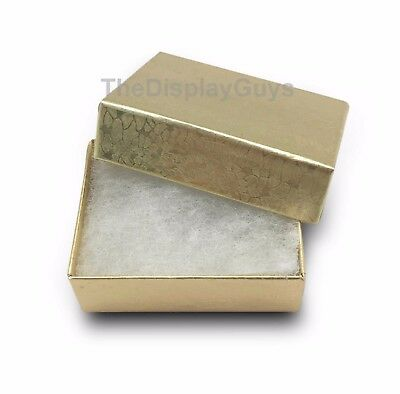 "Lot of 12 pcs 1 7/8""x1 1/4""x5/8"" Gold Cotton Filled Jewelry Boxes"