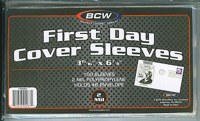 "100 New BCW 2-mil U.S. First Day Cover Poly Sleeves 3-15/16"" x 6-7/8"""