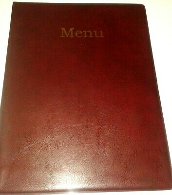 Qty 15 A4 MENU HOLDER/COVER/FOLDER IN BURGUNDY LEATHER LOOK PVC