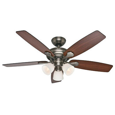 """Hunter 52"""" Conway Antique Pewter Ceiling Fan w/Light 53052 new"""