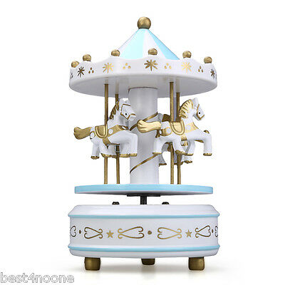 Hand Painting Classic Playground Wooden Carousel Music Box Kids Toy Blue + White