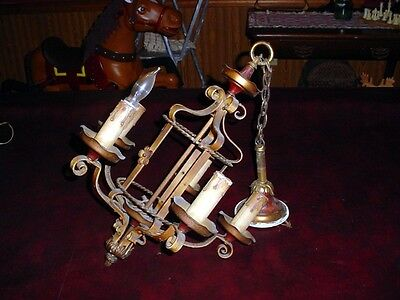 Vintage  1920's ANTIQUE  ART DECO Ceiling LIght Fixture CHANDELIER 5 arms