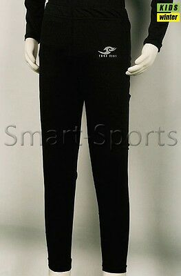 Youth Boys Thermal Compression Sports Base Layer Skin Tight Long Pants   Black