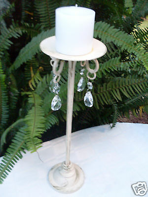 Retro SHABBY CHIC French Provincial TALL METAL PILLAR CANDLE HOLDER with BLING