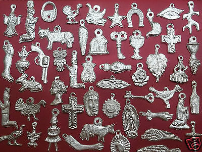 100 Milagros Charms SILVER Mexican Exvoto Nicho Retablo Day of the Dead Theme