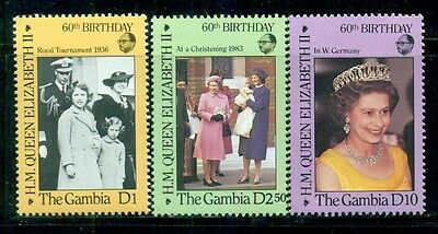 GAMBIA Sc611-13 SG641-43 MNH 1986 QEII 60th Birthday set of 3 SCV$5