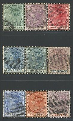 LAGOS Sc13-21 SG17-32 Used 1882-91 QVIC Wmk Crown CA short set of 9 to 3p SCV$58