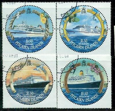 PITCAIRN ISLANDS Sc531-34 SG587-90 Used 2001 Cruise Ships set of 4 SCV$16