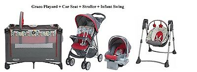 Graco Baby Stroller with Car Seat, Portable PlayYard, Swing By Me- Bundle