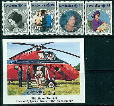 SEYCHELLES Sc567-71 SG614-17,MS618 MNH 1985 Queen Mother set of 4+MS SCV$9