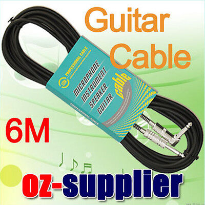"""6M Guitar Lead 1/4"""" Instrument Cable Cord Angle Plug"""