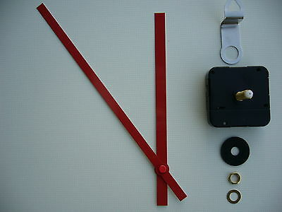 High Torque Clock Movement Extra Long Spindle 200Mm Red Baton Metal Hands