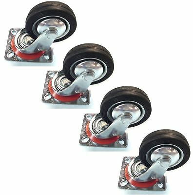 """4 Pack 4"""" Swivel Caster Wheels Rubber Base with Top Plate & Bearing Heavy Duty"""