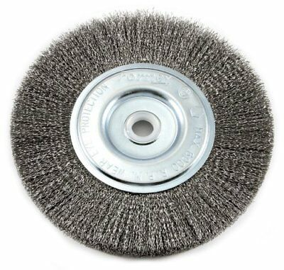Forney 72747 Wire Bench Wheel Brush, Fine Crimped with 1/2-Inch and 5/8-Inch