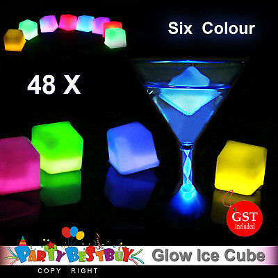 48X Glowing Ice Cube Cubes Glow in the dark Light UP Party Wedding Toy Swimming