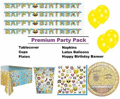 Emoji | Smiley Face 8-48 Guest Premium Party Pack Tableware | Banner | Balloons