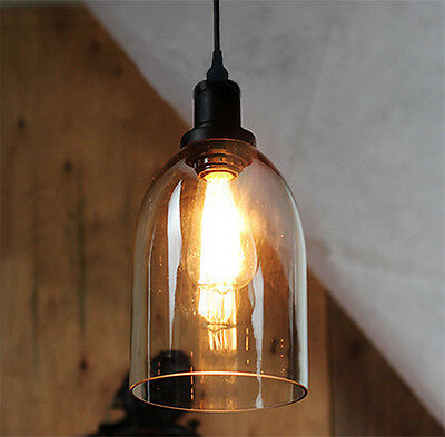 Vintage Industrial Bell Loft Cafe Glass Ceiling Pendant Hanging Light Lamp Shade