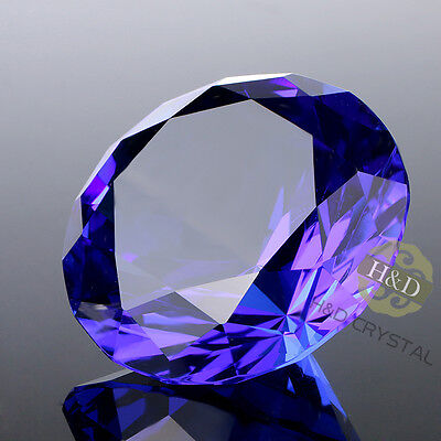 Blue Crystal Paperweight Cut Glass Giant Diamond Jewel Party Home Decor 30mm