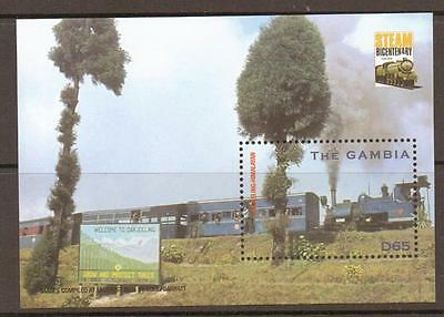 GAMBIA SGMS4636a 2004 STEAM LOCOMOTIVES M/S  MNH