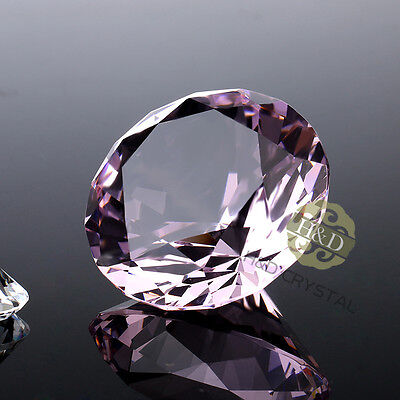 Pink Crystal Diamond Shape Paperweight Glass Gem Display Gift Ornament 30mm