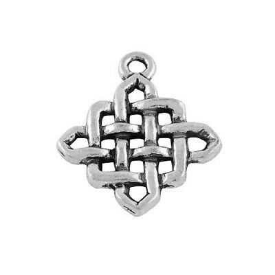 10 x Antique Silver Tibetan 25mm Celtic Knot Diamond Charm/Pendant ZX02280