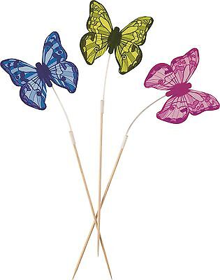 Butterfly Food Stick Picks | Pink | Green | Purple Party | Cake Decorations