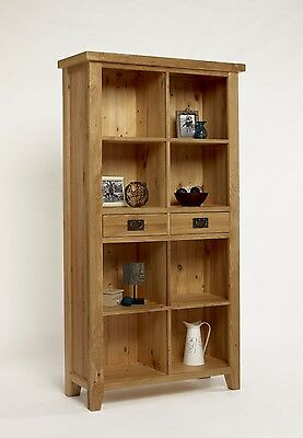 FULLY ASSEMBLED Living Room Country House Solid Oak Large Bookcase with Drawers