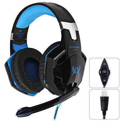KOTION EACH G2200 Gaming Headphone USB Vibration Game Headset Mic with LED Light