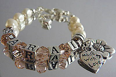 Personalized Christening New Baby Bracelet Gift/Swarovski Pearls Charms Silver