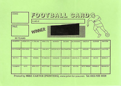 10 Cards - Football Team Card A5 - Fundraising - 40 Spaces