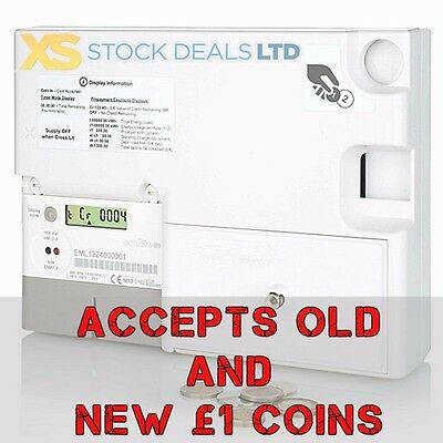 Emlite Electric NEW £1 Sterling Operated Dual Coin Prepayment Digital 100A Meter